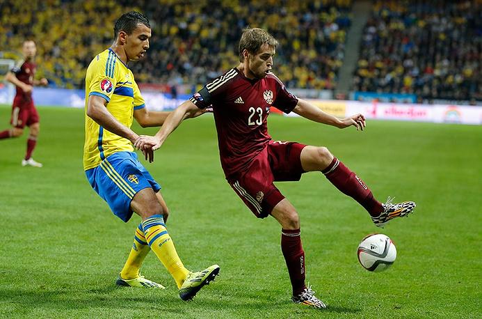 Защитник сборной России Дмитрий Комбаров активно подключался к атакам