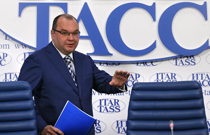Сергей Михайлов - генеральный директор информационного агентства России ТАСС. На фото: во время пресс-конференции, 2014 год