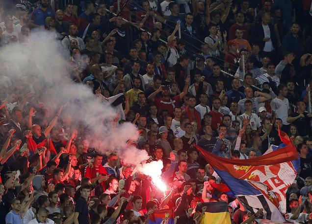 Фанаты сборной Сербии