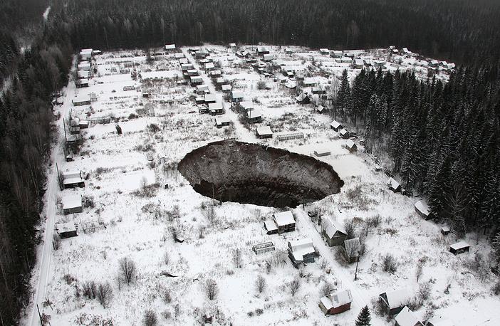"""Место провала грунта на руднике""""Соликамск-2"""", 20 ноября 2014 года"""