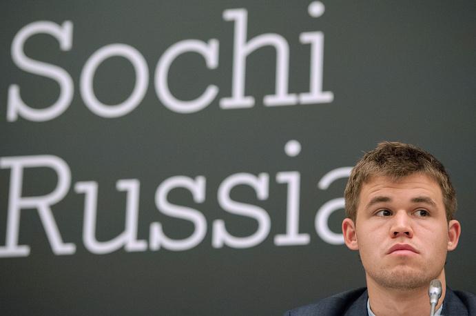В Сочи состоялся матч за титул чемпиона мира по шахматам 2014 года между норвежцем Магнусом Карлсеном и индийцем Вишванатаном Анандом. На фото: чемпион мира по шахматам норвежец Магнус Карлсен на церемонии открытия чемпионата мира по шахматам, 7 ноября