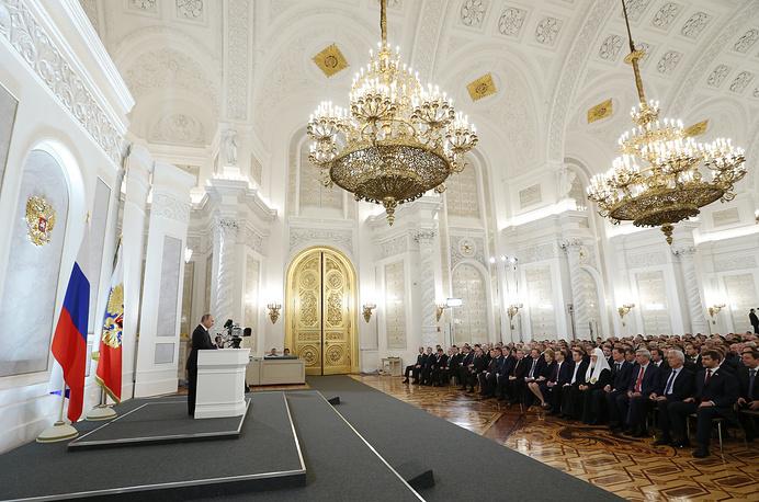 Первой темой выступления президента стало воссоединение Крыма и Севастополя с Россией