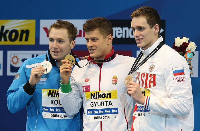 Другой представитель России Кирилл Пригода (справа) вошел в тройку лучших на дистанции 200 м брассом