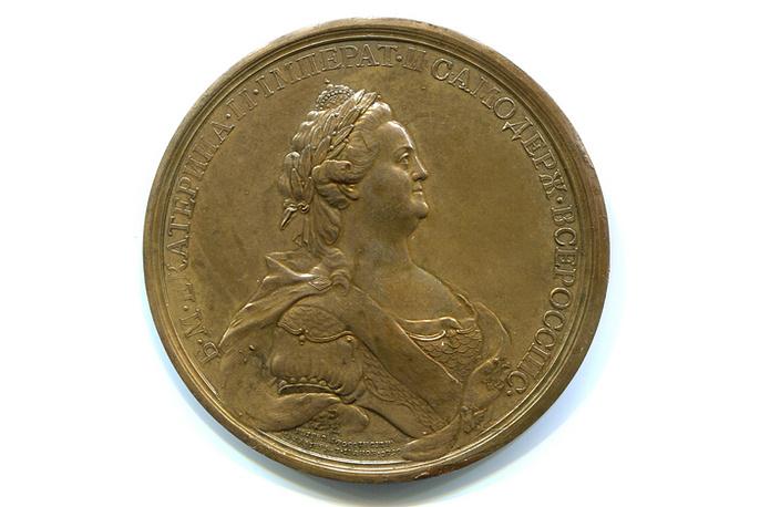 """Медаль """"Путь в пользу"""" 1787 года чеканки в память о путешествии Екатерины II в Новороссию и Крым"""