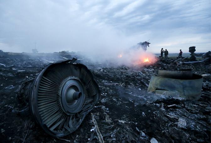 """17 июля. На месте падения пассажирского самолета """"Малайзийских авиалиний"""" Boeing 777, выполнявшего рейс из Амстердама в Куала-Лумпур, в 60 километрах от российской границы, Донецкая область. В катастрофе погибли 283 пассажира и 15 членов экипажа"""