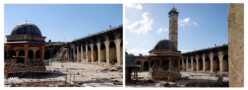 Мечеть Омейядов в Алеппо. Слева мечеть, пострадавшая в результате боев. Справа - до разрушения