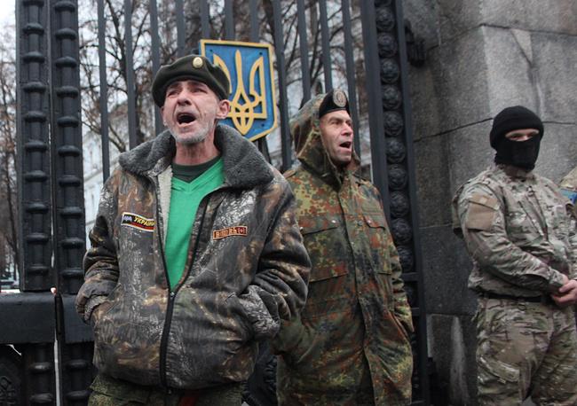 "Пикет бойцов батальона ""Айдар"" у здания Минобороны Украины"