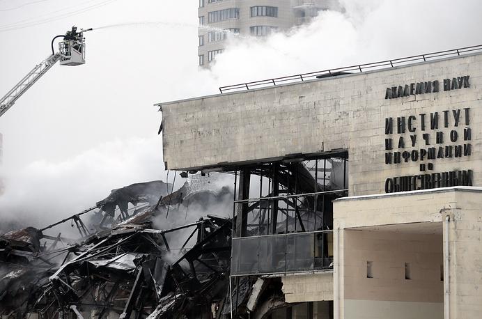 Пожар в здании библиотеки ИНИОНа в Москве возник 30 января и был потушен лишь спустя 25 часов