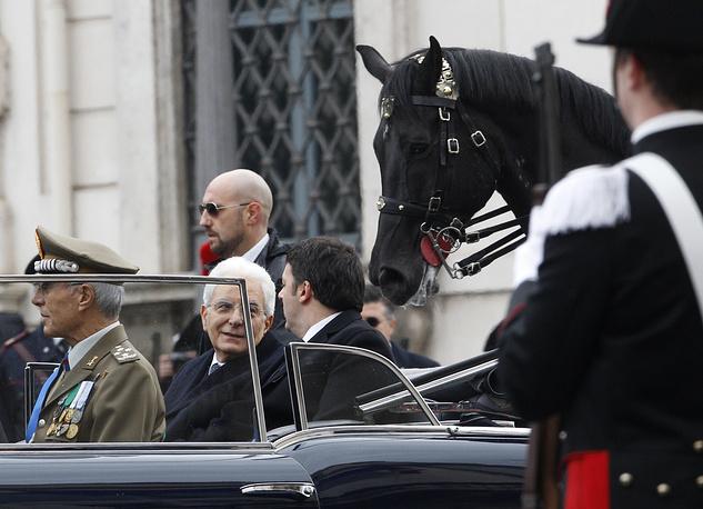 Серджио Маттарелла был избран президентом Италии 31 января на совместном заседании обеих палат парламента. На фото: Серджио Маттарелла в президентском кортеже, 3 февраля 2015 года