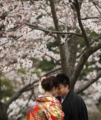 Пара молодоженов в саду Санкай в Йокогаме, к югу от Токио, Япония