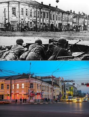 Тула. Военные с противотанковыми ружьями на улице Коммунаров, 1941 год / Вид на центральную площадь города