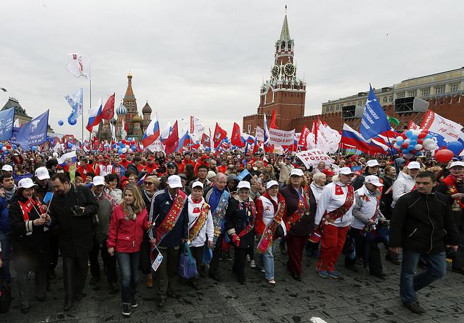 Участники шествия профсоюзов на Красной площади