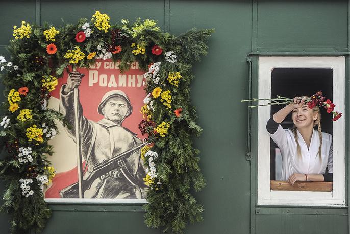 """Ретро-поезд """"Эшелон Победы"""" в Новосибирске"""