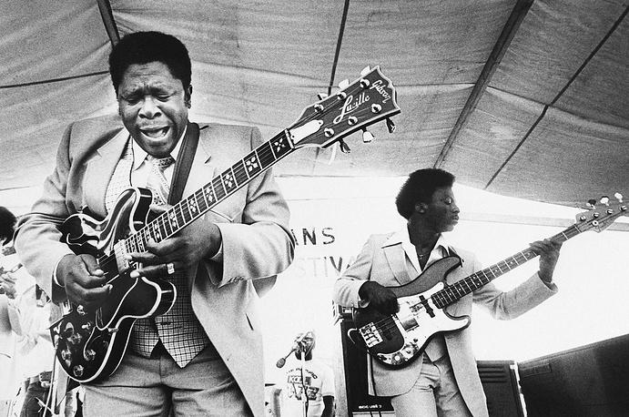 Би Би Кинг во время выступления на джазовом фестивале в Новом Орлеане, 1980 год