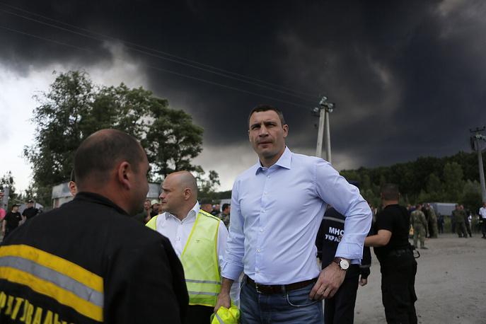 Мэр Киева Виталий Кличко на месте происшествия