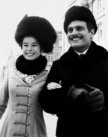 "Омар Шариф и Джеральдина Чаплин на съемках фильма Дэвида Лина ""Доктор Живаго"" в Мадриде, март 1965 года"