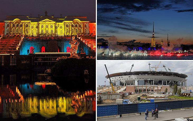 """Завершение строительства стадиона """"Зенит-Арена"""" в Санкт-Петербурге неоднократно переносились. Окончательные сроки сдачи в эксплуатацию - май 2016 года. Строящийся стадион в Петербурге будет вмещать до 68 тыс. человек"""