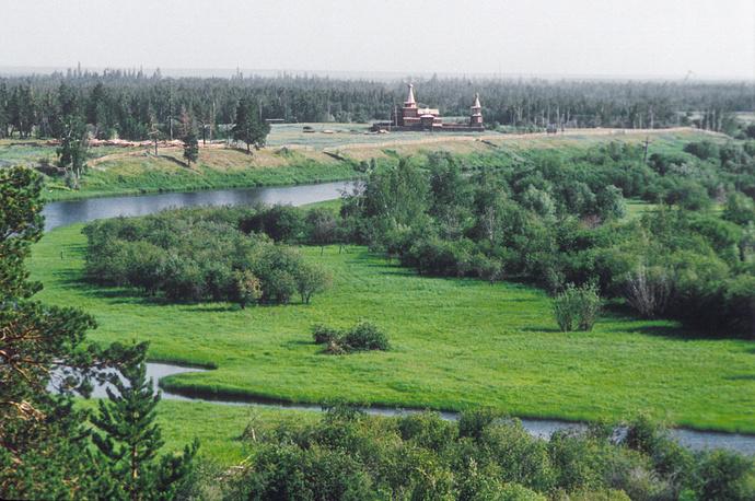 Бывший Зашиверский острог в Якутии. Построен в 1632 году
