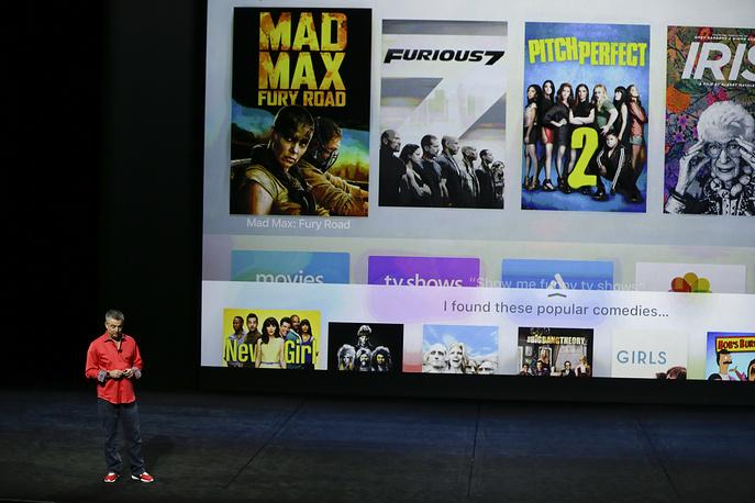 Старший вице-президент компании Apple Эдди Кью во время презентации Apple TV