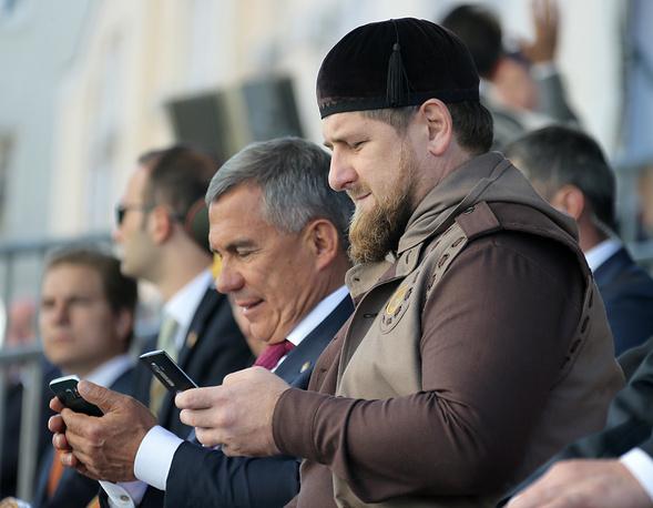 Глава Республики Татарстан Рустам Минниханов и глава Чечни Рамзан Кадыров (слева направо) на открытии Московской Соборной мечети
