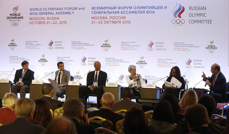 """Во время семинара """"Организация национальной ассоциации олимпийцев"""" на I форуме Всемирной ассоциации олимпийцев"""