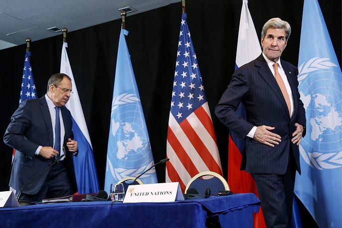 Министр иностранных дел РФ Сергей Лавров, госсекретарь США Джон Керри