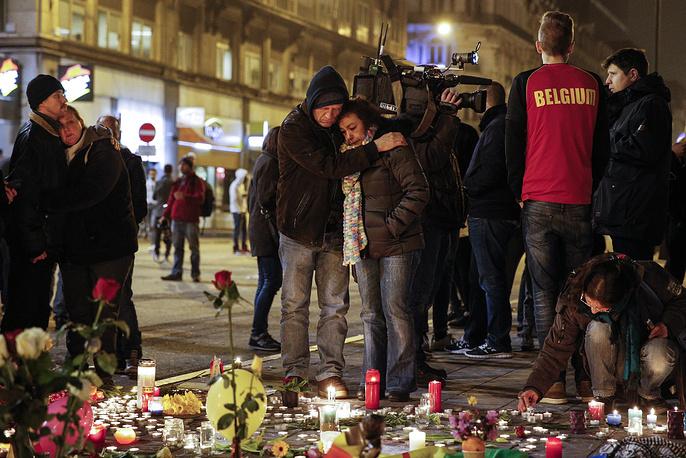 Акция памяти по жертвам терактов на бульваре Анспах в Брюсселе