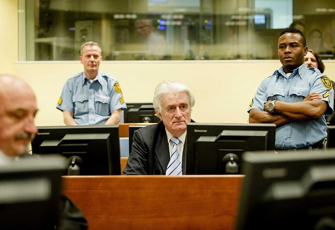 Караджич в зале перед чтением приговора в Международном уголовном трибунале по бывшей Югославии (МТБЮ) в Гааге, Нидерланды, 24 марта 2016 года