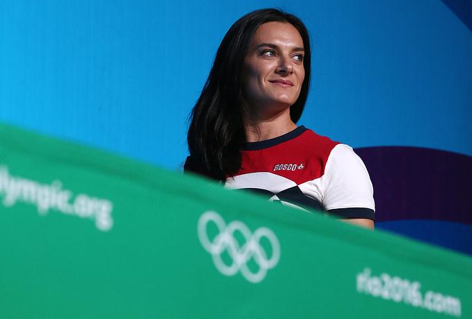 Двукратная олимпийская чемпионка по прыжкам с шестом Елена Исинбаева, избранная в комиссию спортсменов Международного олимпийского комитета (МОК), во время пресс-конференции на XXXI летних Олимпийских играх