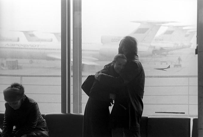 Встреча в аэропорту после гастролей. Москва, 1977 год