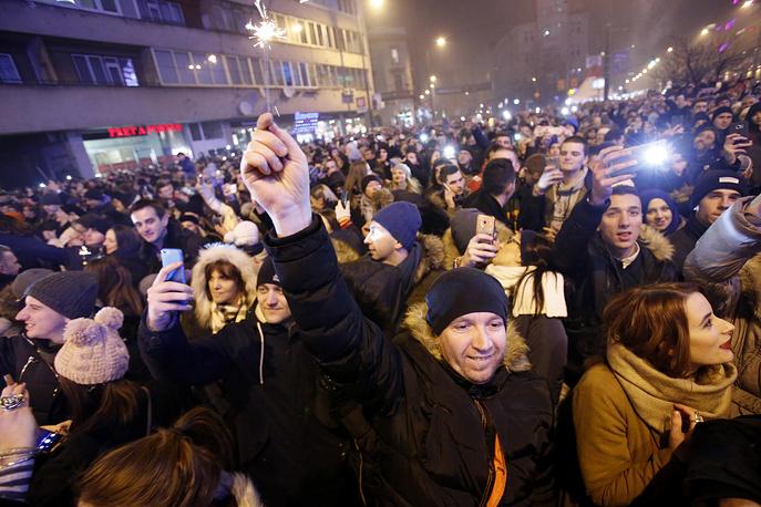 Празднование в центре Сараево, Босния и Герцеговина