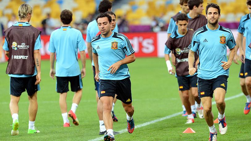 Сборная Испании на тренировке перед финалом Евро-2012