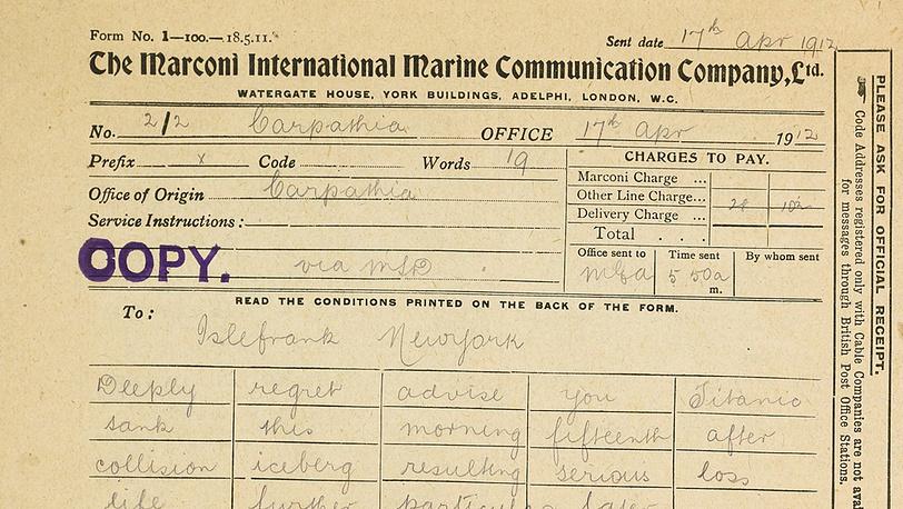 """Телеграмма, в которой владелец пароходной компании Брюс Исмей сообщает о гибели """"Титаника"""""""