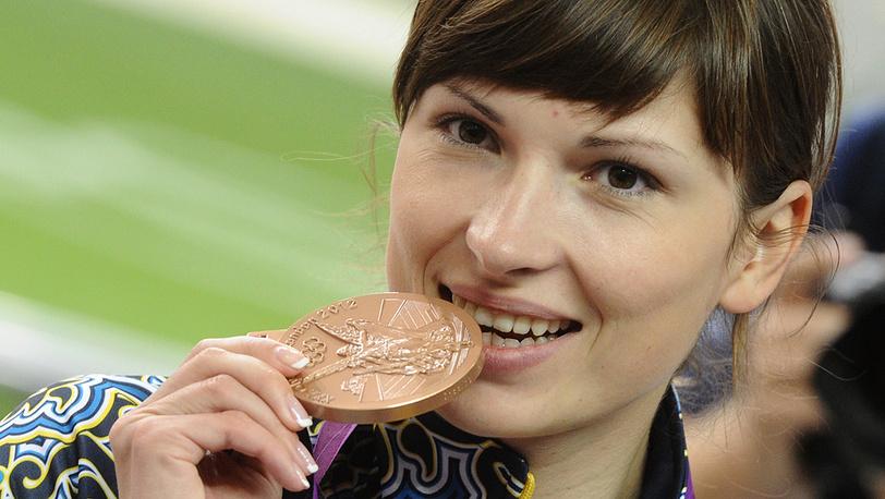 Украинская спортсменка Елена Костевич, занявшая третье место