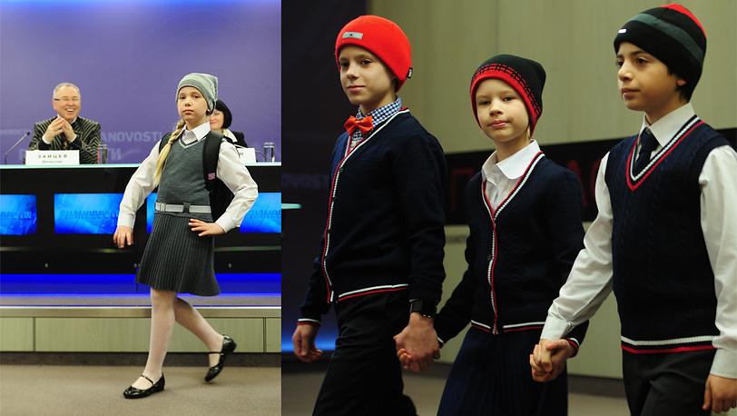 В создании одежды для школьников участвовали известные российские кутюрье. На фото: Вячеслав Зайцев на презентации школьной формы, 2013 год
