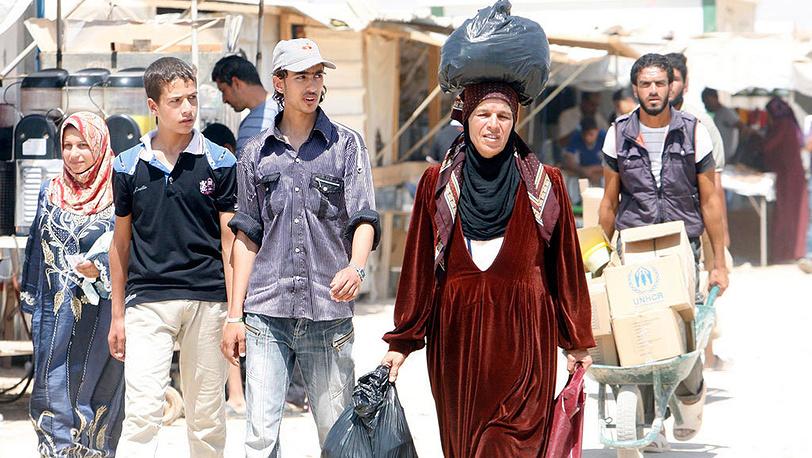 Лагерь сирийских беженцев в городе Эль-Мафрак, Иордания