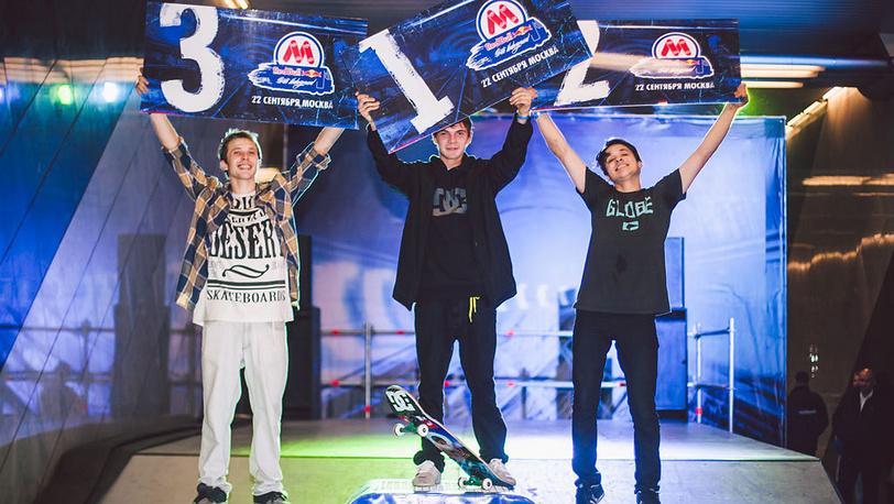 Победители Егор Голубев(1-е место), Юрий Ренов (2-е), Александр Кулиев(3-е) Фото REDBULL.COM/Дмитрий Краюхин