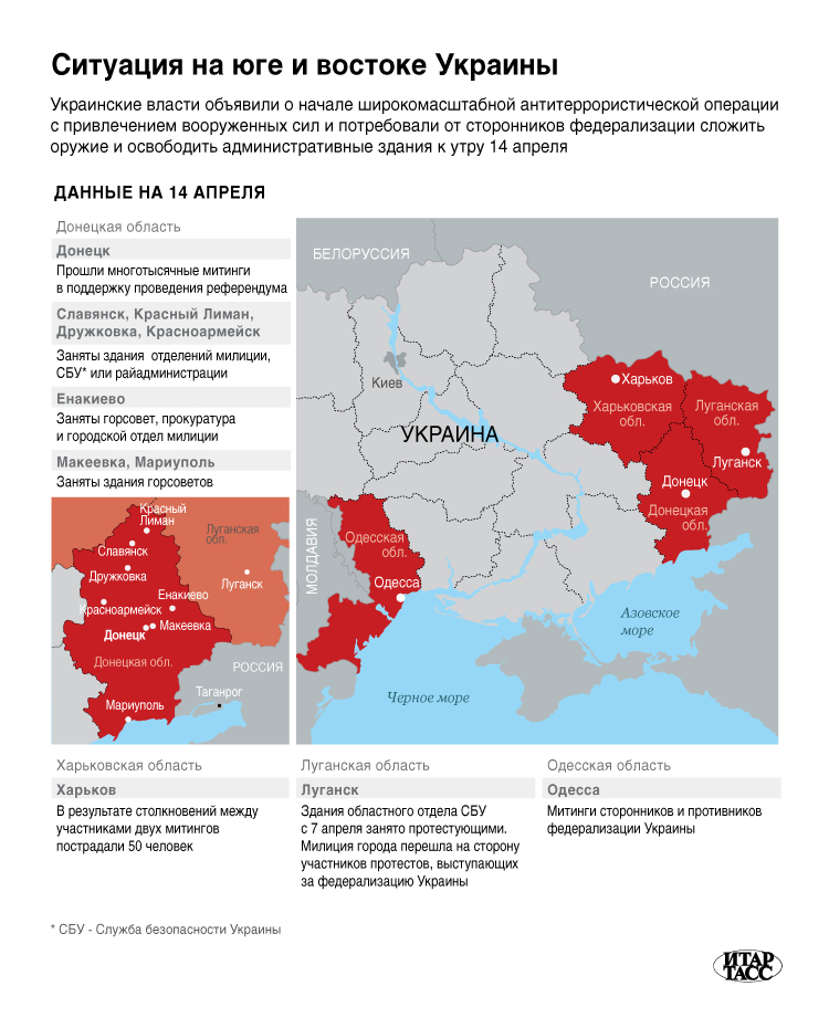 Ситуация на юге и востоке Украины