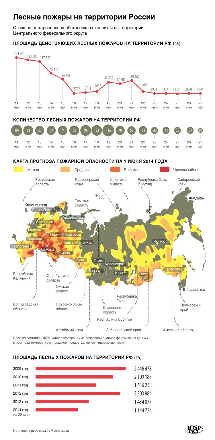 Лесные пожары на территории России