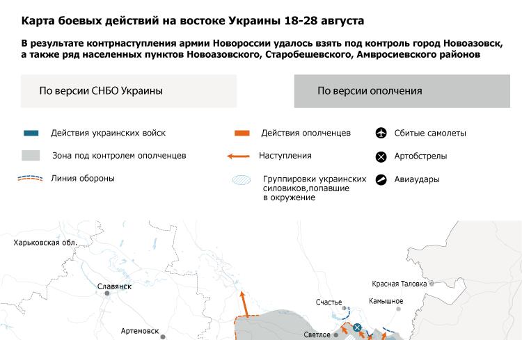 Карта боевых действий на востоке Украины 18-28 августа