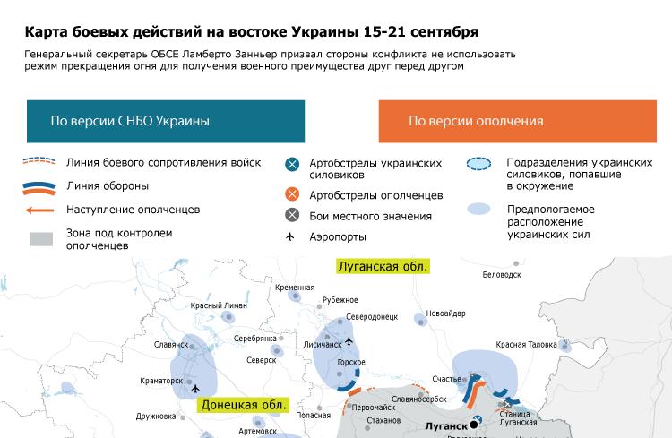 Карта боевых действий на востоке Украины 15-21 сентября