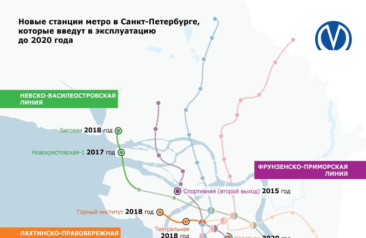 Новые станции метро в Санкт-Петербурге, которые введут в эксплуатацию до 2020 года