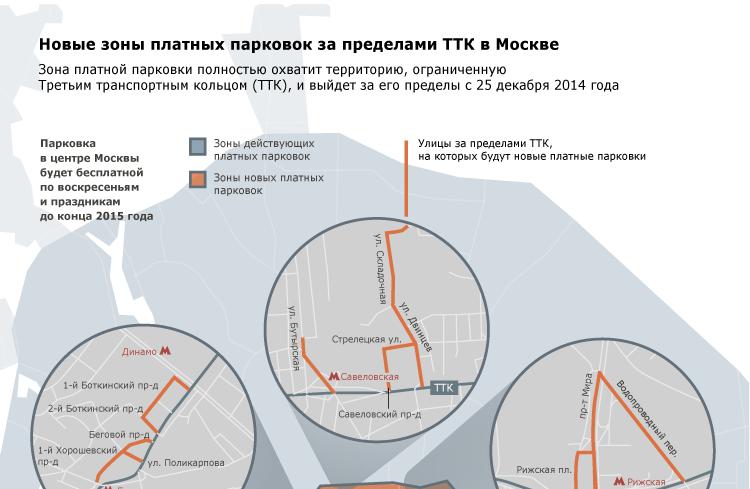 Новые зоны платных парковок за пределами ТТК в Москве
