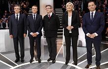 Франсуа Фийон, Эмманюэль Макрон, Жан-Люк Меланшон, Марин Ле Пен и Бенуа Амон