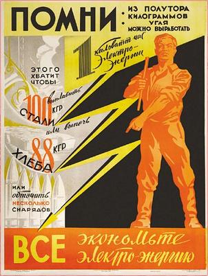 """Советский плакат.""""Все экономьте электроэнергию"""".1942 г."""