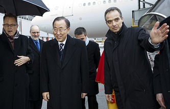 United Nations Secretary-General Ban Ki-moon arrives for the Geneva II peace talks