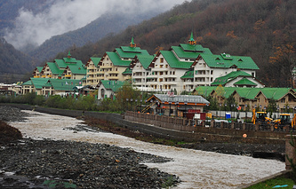 A view of the Rosa Khutor alpine ski resort in Krasnaya Polyana