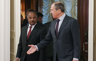Russian Foreign Minister Sergei Lavrov and his Eritrean counterpart Osman Saleh