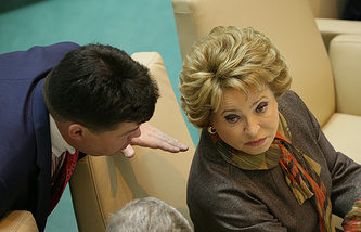 Chairman of the Foreign Affairs Committee Mikhail Margelov (L) and Speaker of Federation Council upper house of parliament Valentina Matviyenko (R)