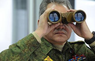 Russian Defense Minister Sergei Shoigu monitoring military drills in the Leningrad region